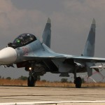 Two Russian Su-30s land at Hmeimin Air Base in Syria. Click to enlarge