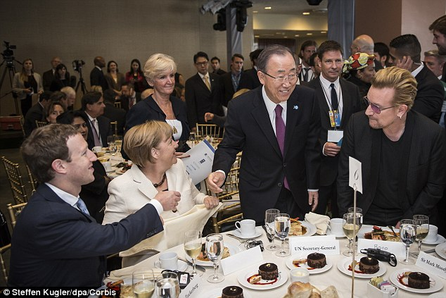 Zuckerberg, Merkel, U.N. Secretary General Ban Ki-Moon and U2 singer Bono. Click to enlarge