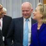 Hillary Clinton, British Foreign Secretary William Hague and Saudi Minister of Foreign Affairs Sheihk bin Zayed Ali Nahyan. click to enlarge