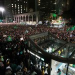 Protesters take to the streets in Sao Paulo Wednesday night. Click to enlarge