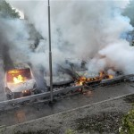 Cars burn in Rinkebt, Stockholm, after 5 nights of rioting in 2013.
