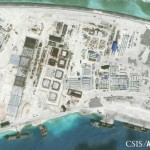 The northwest side of Mischief Reef showing a 1,900 foot seawall and newly-constructed infrastructure including housing, an artificial turf parade grounds, cement plants, and docking facilities are shown in this Center for Strategic and International Studies (CSIS) Asia Maritime Transparency Initiative January 8, 2016 satellite image released to Reuters on January 15, 2016. REUTERS/CSIS Asia Maritime Transparency Initiative/Digital Globe/Handout via Reuters. Click to enlarge