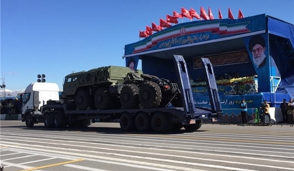 Part of the Russian S-300 system seen during an April 17, 2016, parade in Tehran