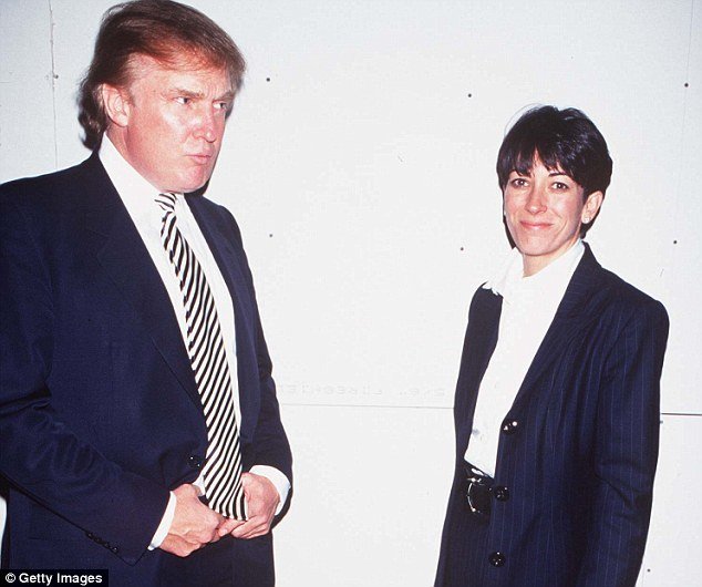 Donald Trump, pictured in 1997 with Epstein's former girlfriend, and Daughter of Rupert Maxwell, Ghislaine Maxwell who was accused of supplying Epstein with underage girls