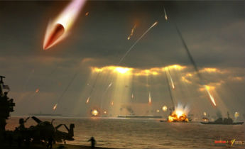 Artists conception of a PLA anti-ship ballistic missile attack-on-three-USN-CVNs-operating-in-ridiculously-close-proximity