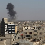 Smoke rises following an Israeli air strike in Rafah, in the southern Gaza Strip, on May 5, 2016.