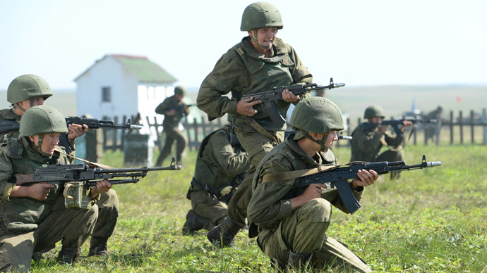 Russian troops drill on the Kuril Islands. Click to enlarge