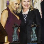 Hillary Clinton and Christine Aguilera. Click to enlarge