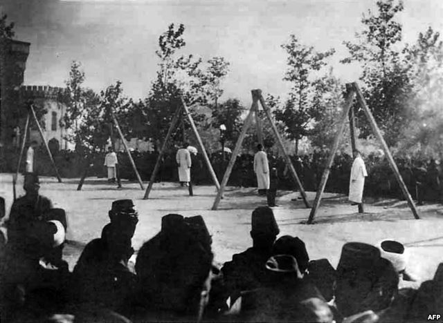 Armenians hung by the Ottomans in Constantinople 1915. Click to enlarge
