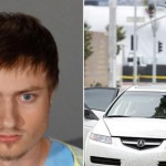 James Wesley Howell and his munitions-laden car. Click to enlarge