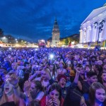 A photo taken on May 26, 2016 in Darmstadt, western Germany shows people enjoying an open air concert during the Schlossgrabenfest music festival. ..German police arrested three asylum seekers after 18 women have made complaints of sexual assaults at the festival that took place from May 26 to 29. / AFP PHOTO / dpa / Boris Roessler / Germany OUTBORIS ROESSLER/AFP/Getty Images