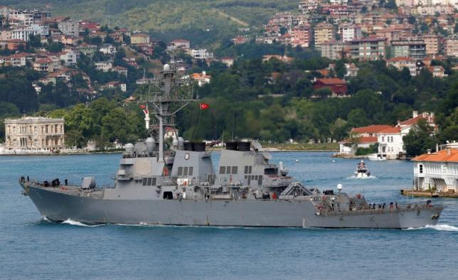 U.S. Navy guided-missile destroyer USS Porter sets sail in the Bosphorus, on its way to the Black Sea in Istanbul, Turkey, June 6, 2016. REUTERS/Murad Sezer