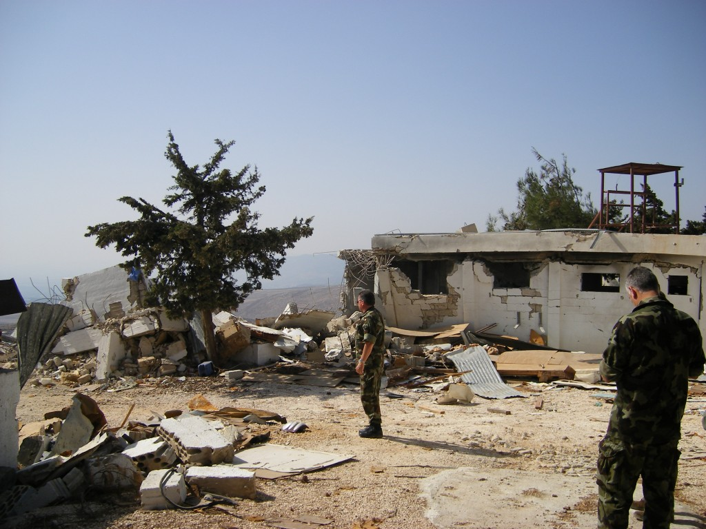 Aftermath of IDF airstrike on UN base at Khiam Lebanon 2016. Click to enlarge