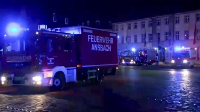 Emergency services at the scene of Nuremberg suicide blast
