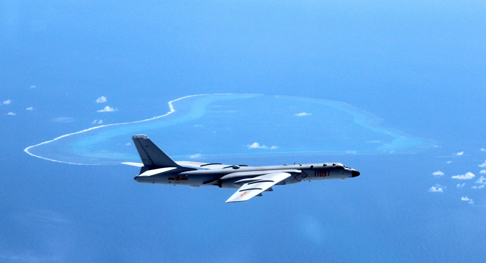 H-6K long range nuclear bomber over South China Sea. Click to enlarge