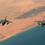 Two French Mirage F-1 fighter jets fly over the Libyan coast on April 9, 2011.Click to enlarge