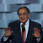 PHILADELPHIA, PA - JULY 27: Former Secretary of Defense Leon Panetta attempts to quiet the crowd during his speech on the third day of the Democratic National Convention at the Wells Fargo Center, July 27, 2016 in Philadelphia, Pennsylvania. Democratic presidential candidate Hillary Clinton received the number of votes needed to secure the party's nomination. An estimated 50,000 people are expected in Philadelphia, including hundreds of protesters and members of the media. The four-day Democratic National Convention kicked off July 25.   Alex Wong/Getty Images/AFP