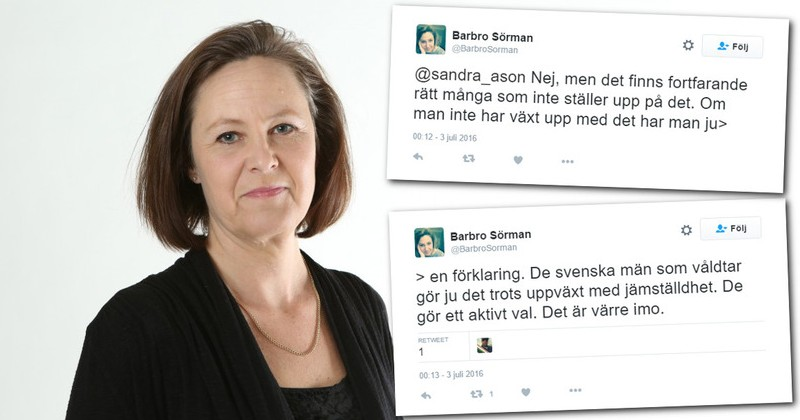 Barbro Sörman, fighting for equality for all rapists -- unless they're white. Click to enlarge