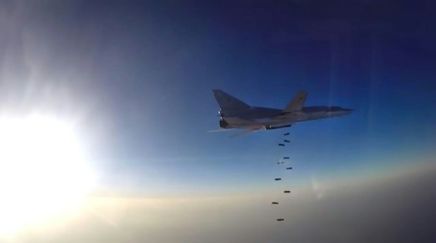 Russian Tu-22M3 conducting air strike over Syria. Click to enlarge