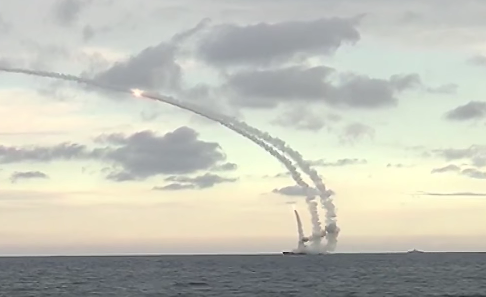 Russian navy cruise missile launch