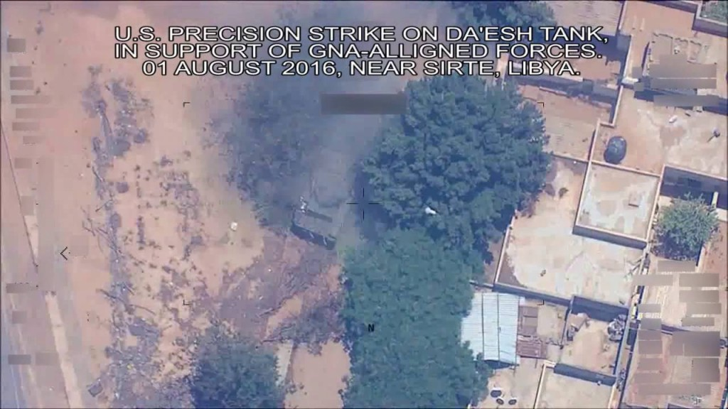US precision strike on Daesh tank near Sirte, Libya, early August, 2016. Click to enlarge
