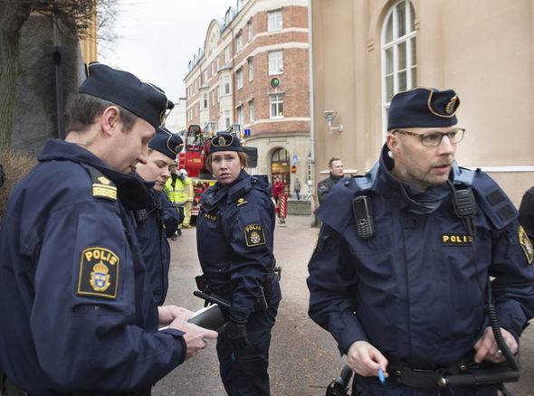A regular shift for Swedish police may include being attacked by stonethrowers. Click to enlarge