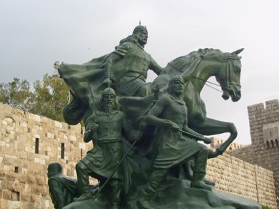 The Kurds are an integral part of Syrian society. This is the statue of Kurdish General Saladin the Magnificent at the entry to the old city of Damascus. He liberated Damascus in 1174 and founded the dynasty of the Ayyoubids.