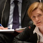 Samantha Power, US Ambassador to the United Nations, speaks to a meeting of the United Nations Security Council. Click to enlarge