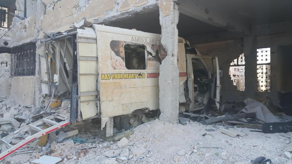 Wrecked ambulance in Aleppo. Click to enlarge