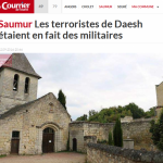 Gardeners employed by the town of Saumur were working at this church when they found the 'stash of Daesh' hidden a cave. Click to enlarge