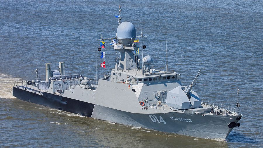 The Volgodonsk, a Buyan-m class Russian corvette. Click to enlarge