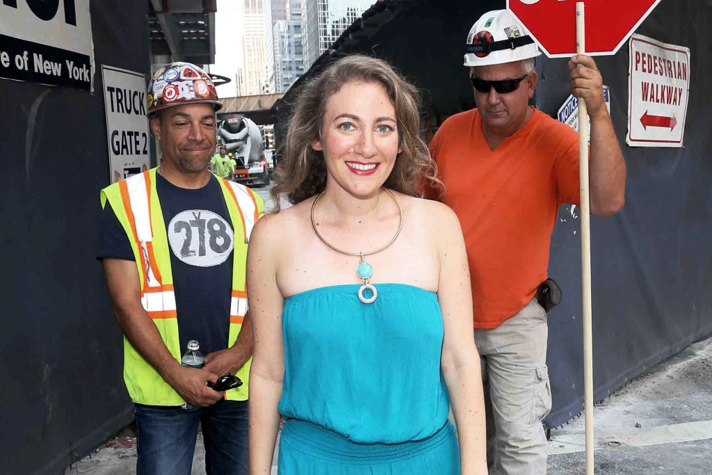 "NEW YORK - AUGUST 8: For Pulse-  Doree Lewak stops by Bryant Park construction site in different outfits for ""catcalling"" feature. (Astrid Stawiarz/NY Post)"
