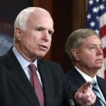 Sen. John McCain (R-Ariz.), left, and Sen. Lindsey O. Graham (R-S.C.) plan to reintroduce the Iran Ballistic Missile Sanctions Act. Click to enlarge