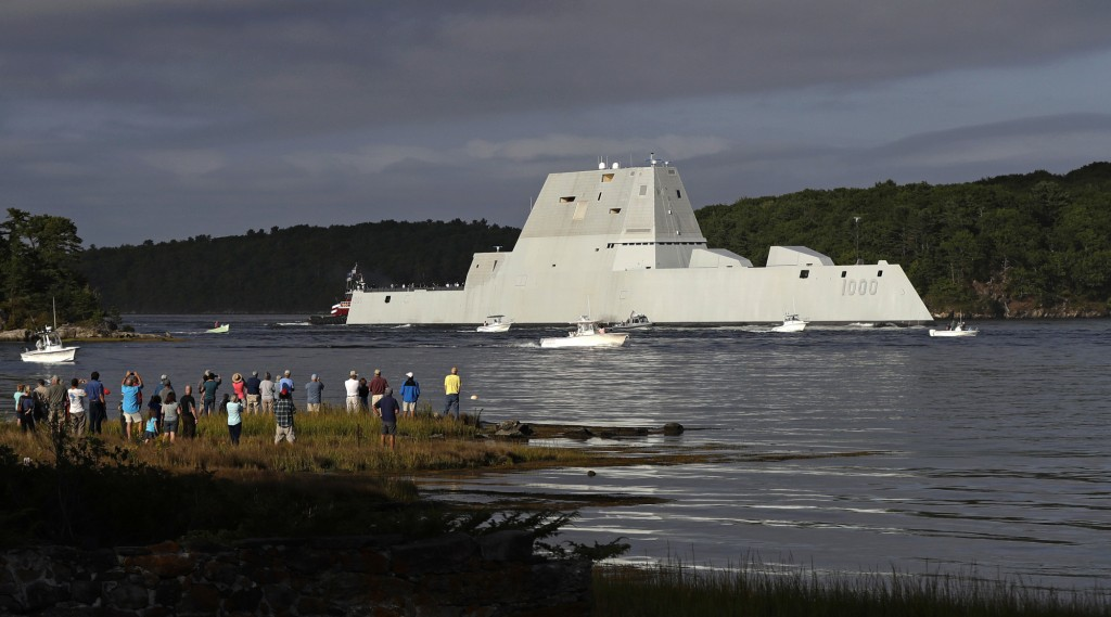 FILE - In this Sept. 7, 2016 file photo, the future USS Zumwalt heads down the Kennebec River after leaving Bath Iron Works in Bath, Maine, on it's way to be commissioned. The Zumwalt, the most expensive destroyer ever built for the U.S. Navy, suffered an engineering problem in the Panama Canal Monday, Nov. 21, 2016, and had to be towed to port. Third Fleet spokesman Cmdr. Ryan Perry said a vice admiral has directed the ship to remain at ex-Naval Station Rodman in Panama to address the issues. (AP Photo/Robert F. Bukaty, File)
