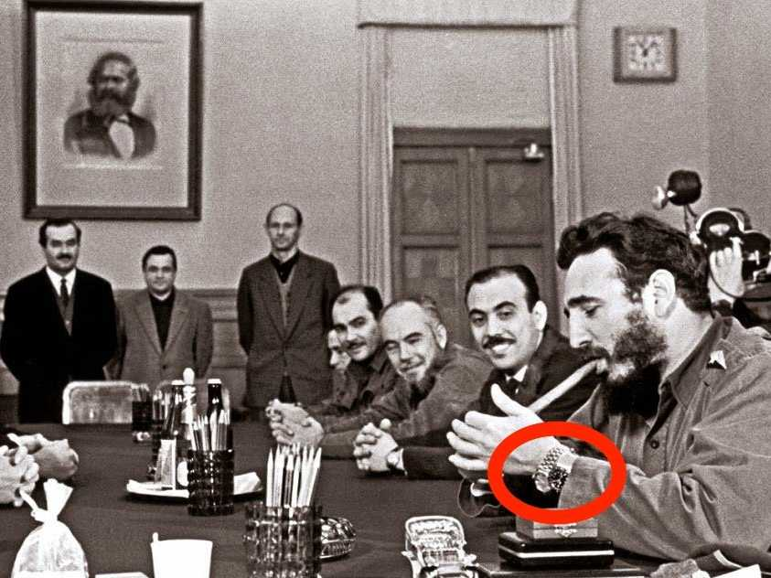 Fidel Castro wearing two expensive Rolex watches while visiting the USSR in 1959. Click to enlarge