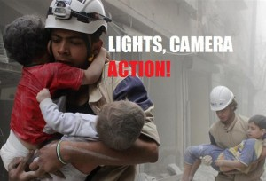 "The bogus and Western-backed ""humanitarian"" group, the Syrian White Helmets pose for the cameras. Click to enlarge"