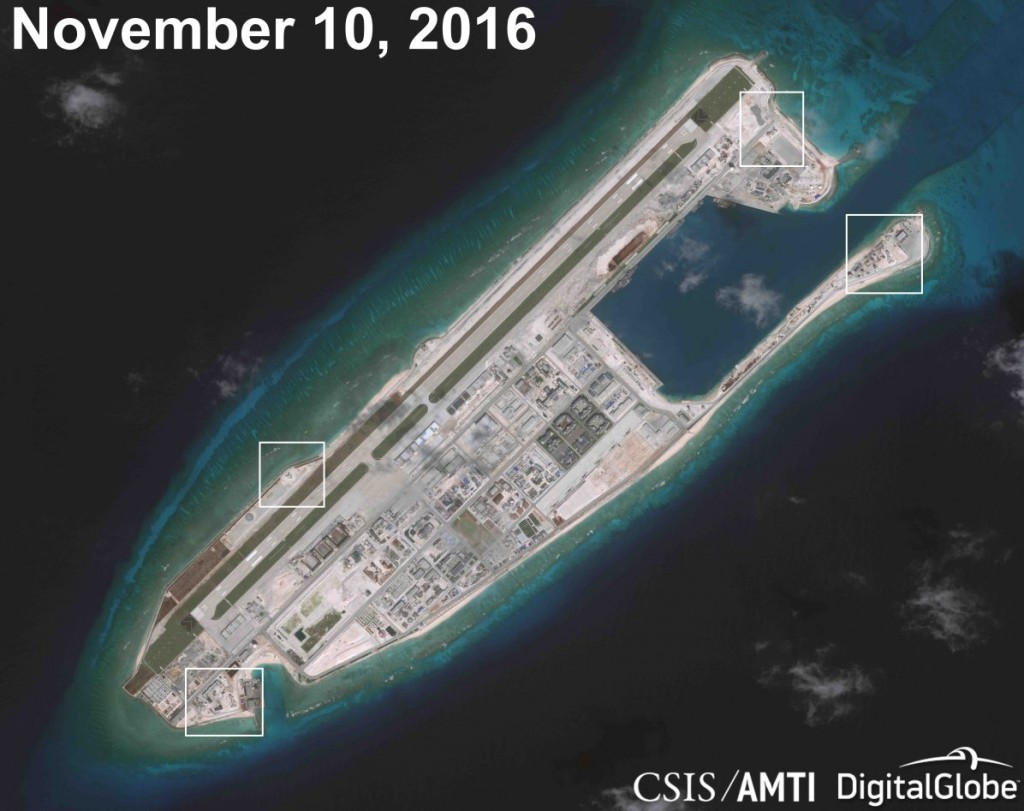 Fiery Cross Reef in the South China Sea. Click to enlarge