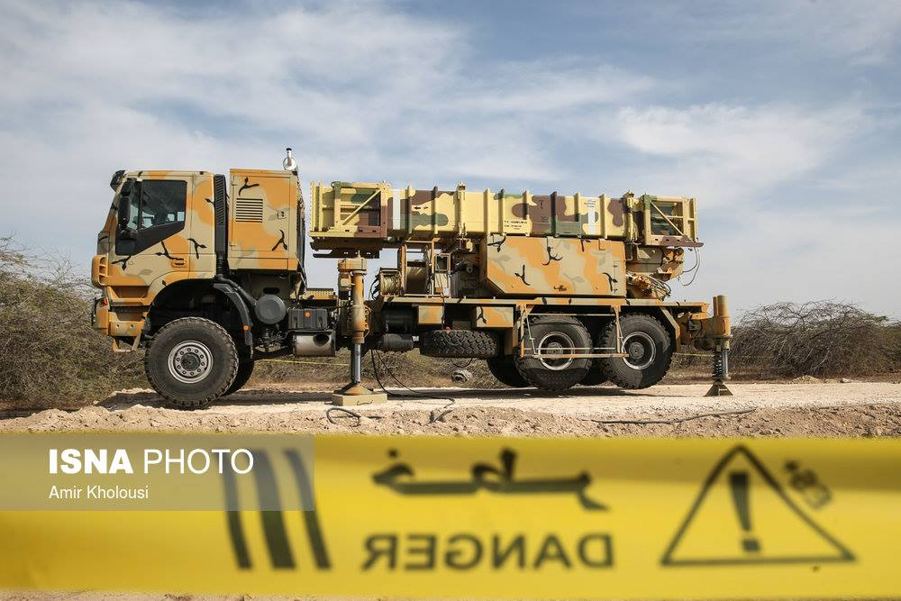 Sayyad-3 provides the upper layer of the Talaash air defense system with Sayyad-2 maintaining defense in the medium altitude. The missile uses this mobile Transporter-Erector-Launcher (TEL) carrying two missiles in sealed canisters. Photo: Hossain Heidarpour. Click to enlarge