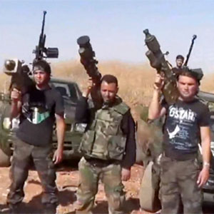 """Syrian rebels"" (terrorists) with shoulder fired anti-aircraft missiles"