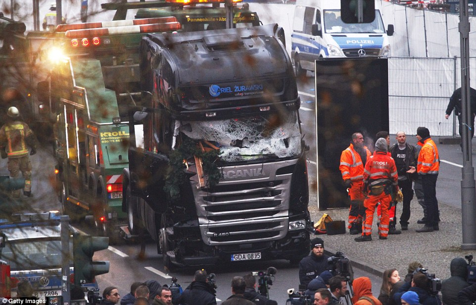 Wrecked truck from Christmas market attack. Click to enlarge