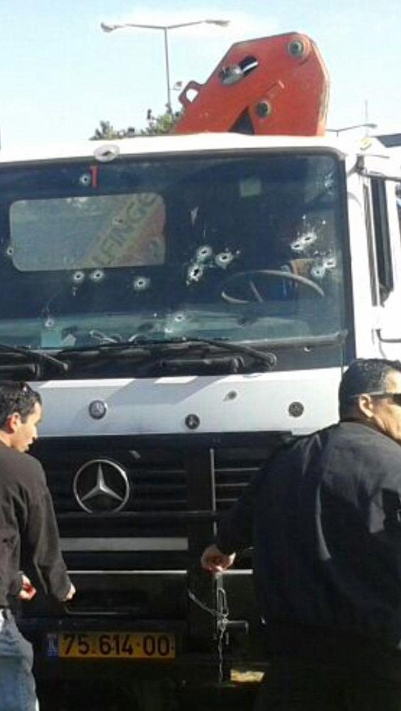 Israeli soldiers fired at least 18 rounds into the truck cab before killing the driver. Click to enlarge