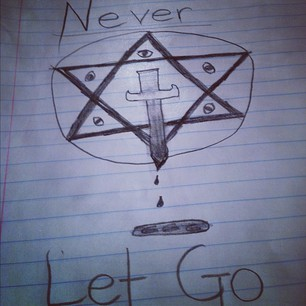One of the several drawings posted by the then 15 year old Paris. A hexagram with all-seeing eyes and a bloody knife. 666 in the pool of blood.