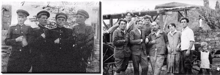 On the left, Communist Jewish Gulag commandants in the USSR. On the right, Zionist Jewish pioneers at Kibbutz Gan Shmuel in 1921. Both are making the classic Masonic hand sign. Click to enlarge