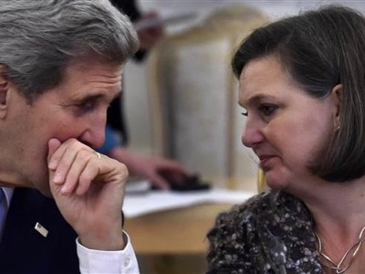 What John Kerry does in daylight, Victoria Nuland undoes at night.