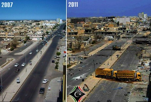 "Libya before and after NATO ""intervention""."