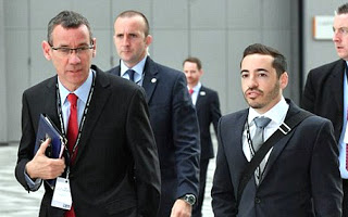 Shia Masot (right) with Israel's new Ambassador to London Mark Regev (right).
