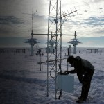 An ARL technician checking equipment at the Climate Reference Network Site in Wolf Point, MT.  Photo: NOAA