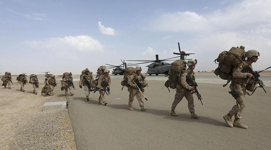 US troops at Afghan base