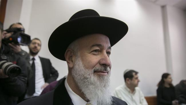 Former Israeli chief rabbi Yona Metzger appears at the Jerusalem District Court in the occupied Jerusalem al-Quds on January 30, 2017. Click to enlarge