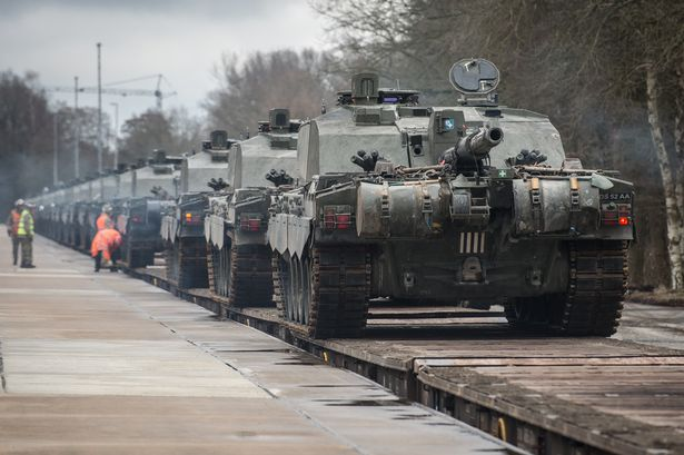 British armour heading to the front line, Russia's border. Click to enlarge